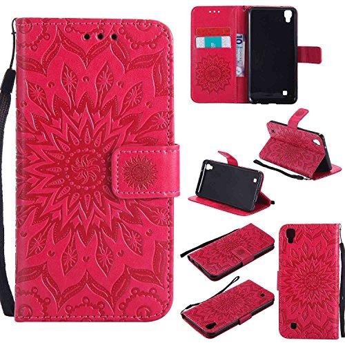 Guran® Funda de Cuero Para LG X Power Smartphone Función de Soporte con Ranura para Tarjetas Flip Case Cover-rojo