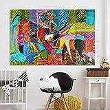 wojinbao Cartel de Arte nórdicoArte de la Pared Decoración Óleo sobre Lienzo ngs Elefante Salvaje y bebé Resumen para Sala de Estar