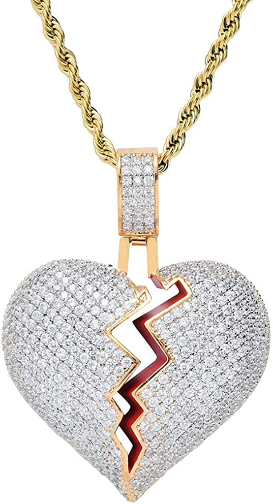 TSANLY Broken Heart Pendant Necklace Hip Hop CZ Fully Iced Out Bling CZ Diamond 24K White Gold Plated with 24