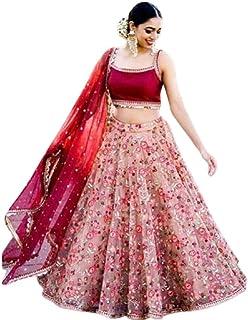 Rudra Fashion Women's Net Semi-stitched Lehenga Choli (YU-445654645_Pink_Free Size)