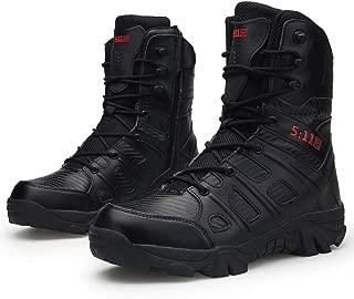 Bitiger Men's Combat Boots with Side Zipper Velcro and Casual Outdoor Mountaineering Trekking Commando Tactical Boots