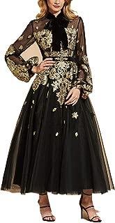 Black Evening Dress high Neck a line Elegant Sleeves Ankle-Length Wedding Party Dress Evening Dresse