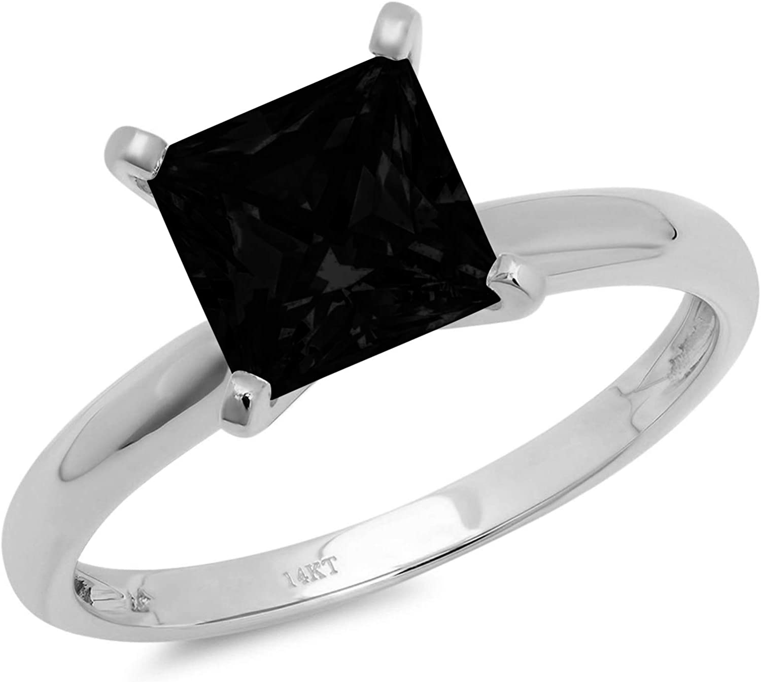 0.4ct Brilliant Princess Cut Solitaire Flawless Genuine Natural Black Onyx Ideal VVS1 4-Prong Engagement Wedding Bridal Promise Anniversary Designer Ring Solid 14k White Gold for Women