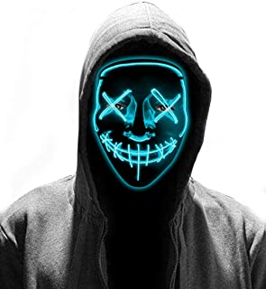 LED Purge Mask - Halloween Glowing Mask 2019 Light Up Mask for Women Men Cosplay Costume