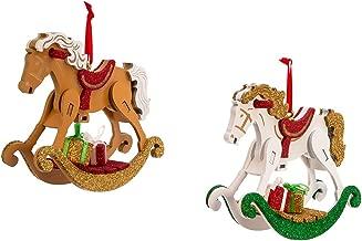 Kurt Adler 4.9-Inch Wooden Rocking Horse Ornament Set of 2, 2 Piece
