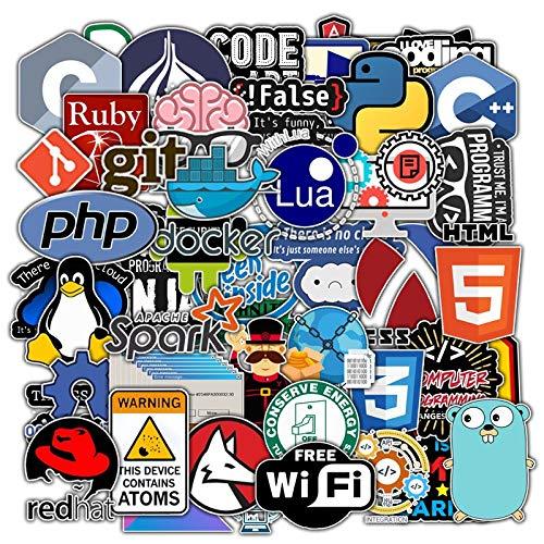 BLOUR 50Pcs New Programming Stickers Pack für den Laptop Kühlschrank Telefon Skateboard Reisekoffer Wasserdichter Aufkleber