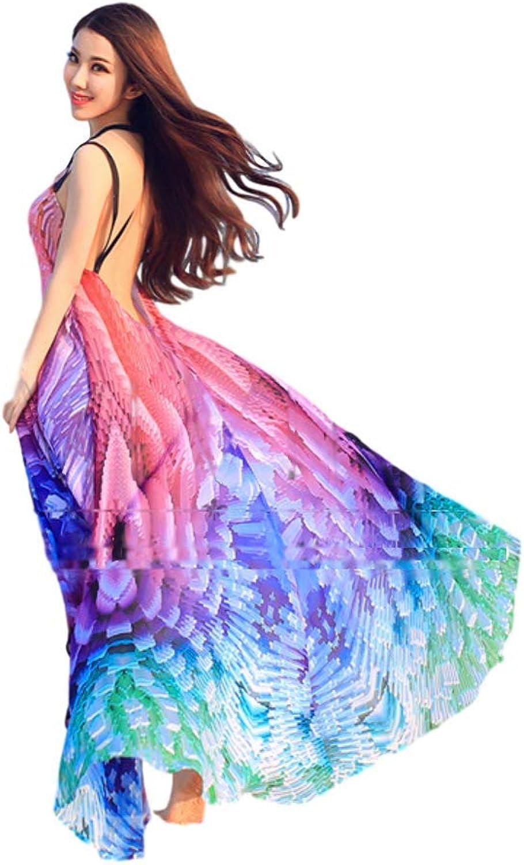 Rainbow Fuji Women's Mermaid Dress colorful Feather Beach Dress Backless Swimming Bikini Cover up Swimwear