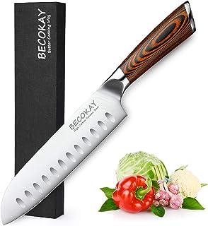 BECOKAY Couteau Santoku - Couteau de Cuisine 7 Pouces Couteau Asiatique Ultra Tranchant Couteau de Chef Japonais - Couteau...