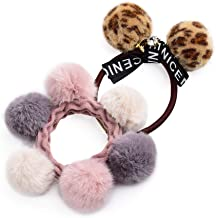 2pcs Elastic Hair Ties Bands Rope Stretch Ponytail Holders Headband for Women Leopard Hairy hair ring