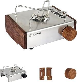 ZJJX Cuisinière à cassette en acier inoxydable - Barbecue avec côté en bois et interrupteur - Portable pour camping en ple...