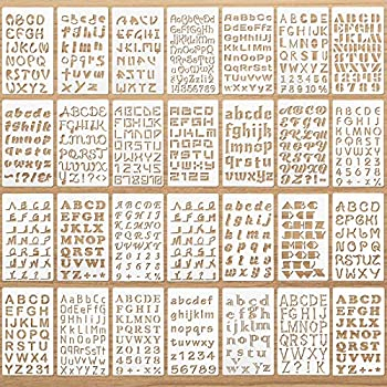 28 Pieces Letter and Number Stencils Reusable Plastic Letter Stencils Alphabet Journal Stencils Font Templates for Notebook Diary Scrapbook DIY Drawing Template on Wood Glass Door Holiday Decor