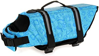 Dog Life Jacket Aquatic Pet Safety Preserver Vest with Reflective Tape