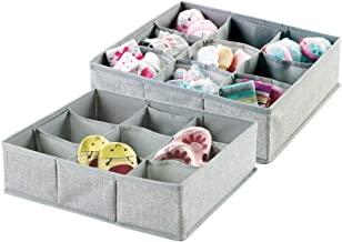 mDesign Fabric Baby Nursery Closet Storage Organizer for Clothing Bibs Socks Shoes - Pack of 2 Large 9 Sections Gray