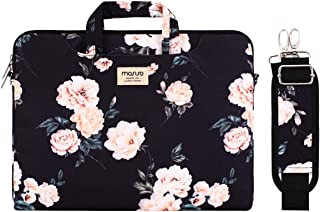 MOSISO Laptop Shoulder Bag Canvas Pattern Briefcase Sleeve with Back Trolley Belt Multi Black Base Peony 13-13.3 Inch