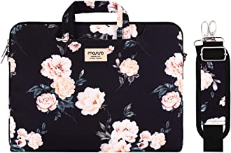 MOSISO Laptop Shoulder Bag Compatible with 14-15.6 inch 2016-2019 MacBook Pro Touch Bar A1990 A1707, Chromebook Notebook,Canvas Pattern Briefcase Sleeve with Back Trolley Belt, Apricot Peony