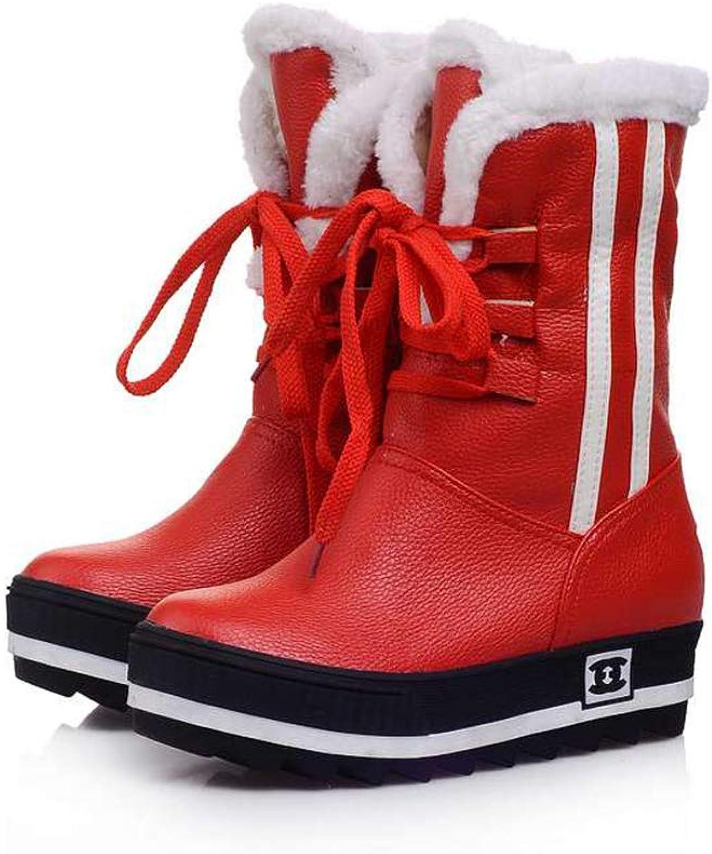 T-JULY Women's Black Waterproof Platforms colors New shoes Winter Full Fur Snow Boots