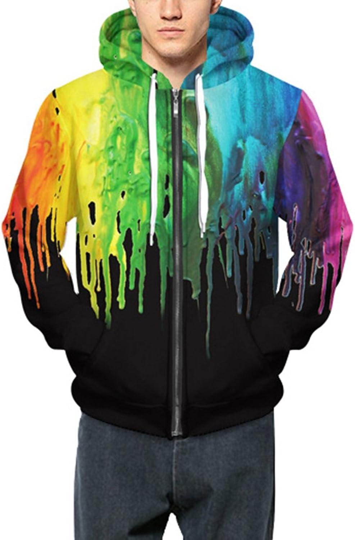 2dfedc6b8 Prettyard Prettyard Prettyard Men Women colorful Paint Black Harajuku  Fashion Zipper Hooded Sweatshirt fae1df