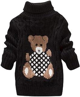 WEXCV - Maglione invernale unisex per bambini e bambine, con collo alto, caldo a maniche lunghe, cardigan
