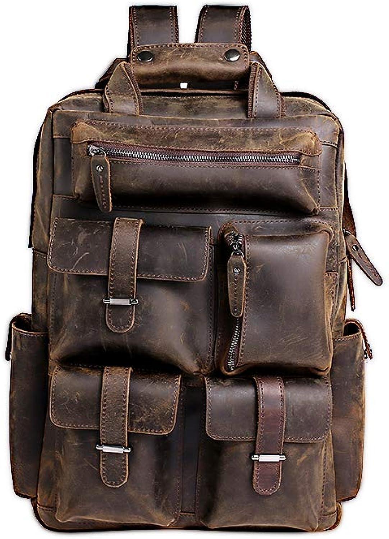 LEWUXIAOLI Men es Shoulder Bag First First First Layer Leder Fashion Simple Outdoor Backpack Multi Pocket Retro Men ' s Bag B07Q1H776C  Rich-pünktliche Lieferung ef46ff