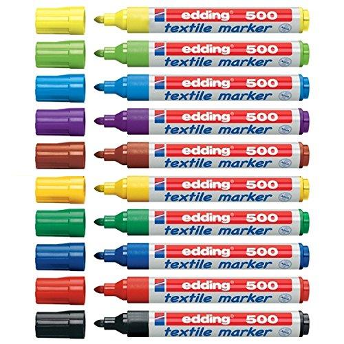 Edding 500 marcatore permanente Nero, Blu, Marrone, Verde, Azzurro, Arancione, Rosa, Rosso, Viola, Giallo Punta smussata 10 pezzo(i)