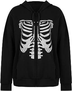 Women Zip Up Hoodie Y2k Sternum Print Long Sleeve Loose Sweatshirt Punk Goth Streetwear Jacket with Pockets