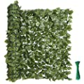 """kdgarden 118""""x39"""" Artificial Hedge Panels Faux Ivy Fence Leaf and Vine Privacy Screen UV-Protected Decorative Trellis Wall Screen for Outdoor Garden and Yard Decoration, Dark Green"""