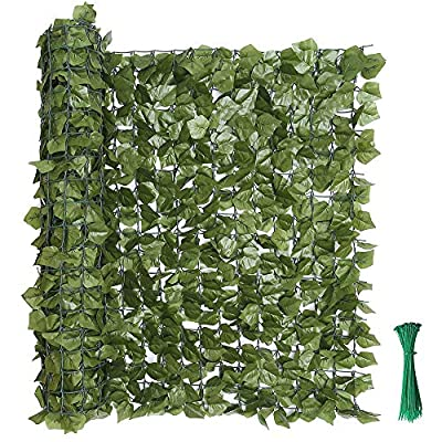 "kdgarden 99""x39"" Artificial Hedge Panels Faux Ivy Fence Leaf and Vine Privacy Screen UV-Protected Decorative Trellis Wall Screen for Outdoor Garden and Yard Decoration, Dark Green"