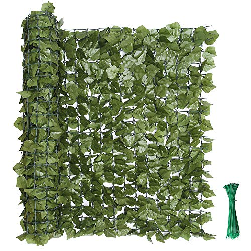 """kdgarden 99""""x39"""" Artificial Hedge Panels Faux Ivy Fence Leaf and Vine Privacy Screen UV-Protected Decorative Trellis Wall Screen for Outdoor Garden and Yard Decoration, Dark Green"""