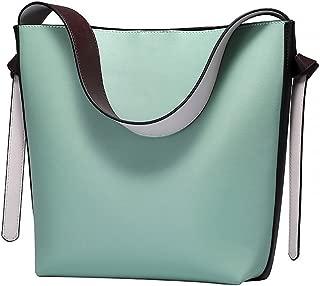 Women Contrast Color Leather Bucket Tote Bag Shoulder Purse Handbags
