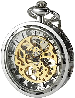 VIGOROSO Mens Classic Steampunk Gold Skeleton Hand Wind Mechanical Pocket Watch