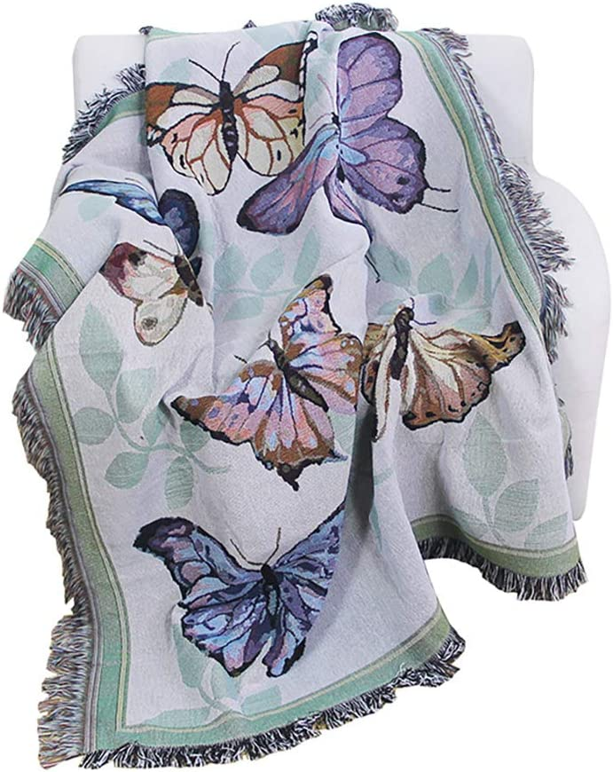 PHNAM Butterfly Throw Blanket with High quality Price reduction Fringe Bed Soft Couch Dec for