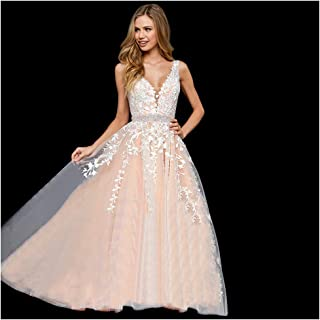 f189eef19e8bf Abaowedding Women s Wedding Dress for Bride Lace Applique Evening Dress V  Neck Straps Ball Gowns