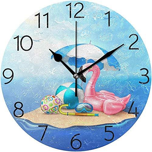 Summer Beach Rose Flamingo Horloge Murale Silencieux Horloge Murale Ronde Non Ticking Fonctionné sur Batterie Creative Horloge Décorative