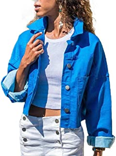 neveraway Women's Denim Casual Loose Button Down Fashion Jacket Coat