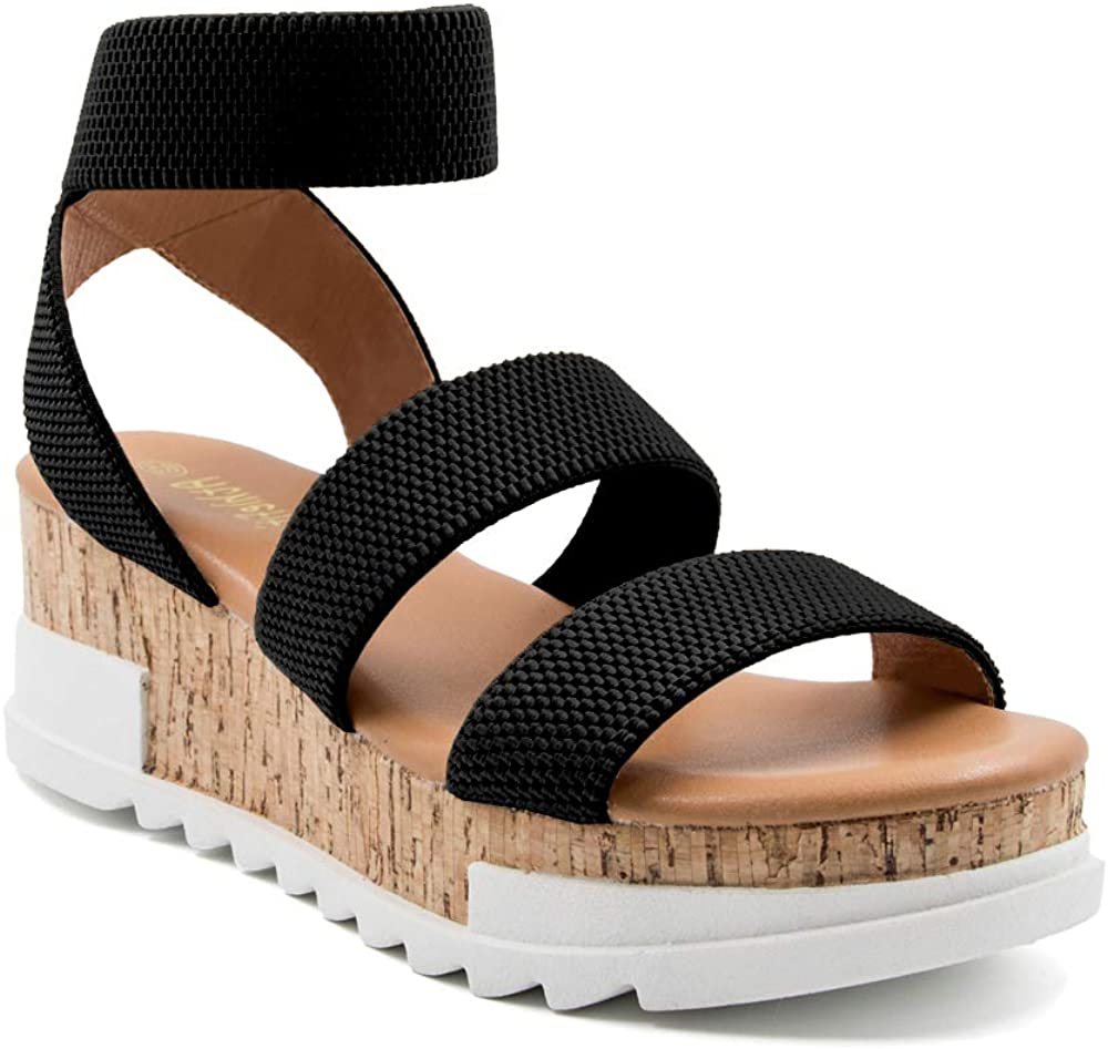 Athlefit Women's Wedge Sandals Cork Str Sale item Elastic Platform Limited time sale