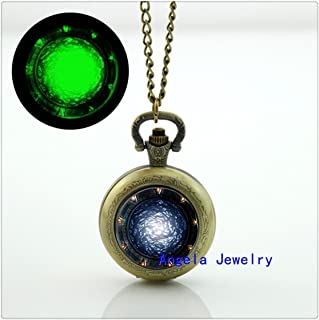 Stargate Portal Glowing Pocket Watch Necklace Glass SG1 Jewelry Glow in The Dark Pendant