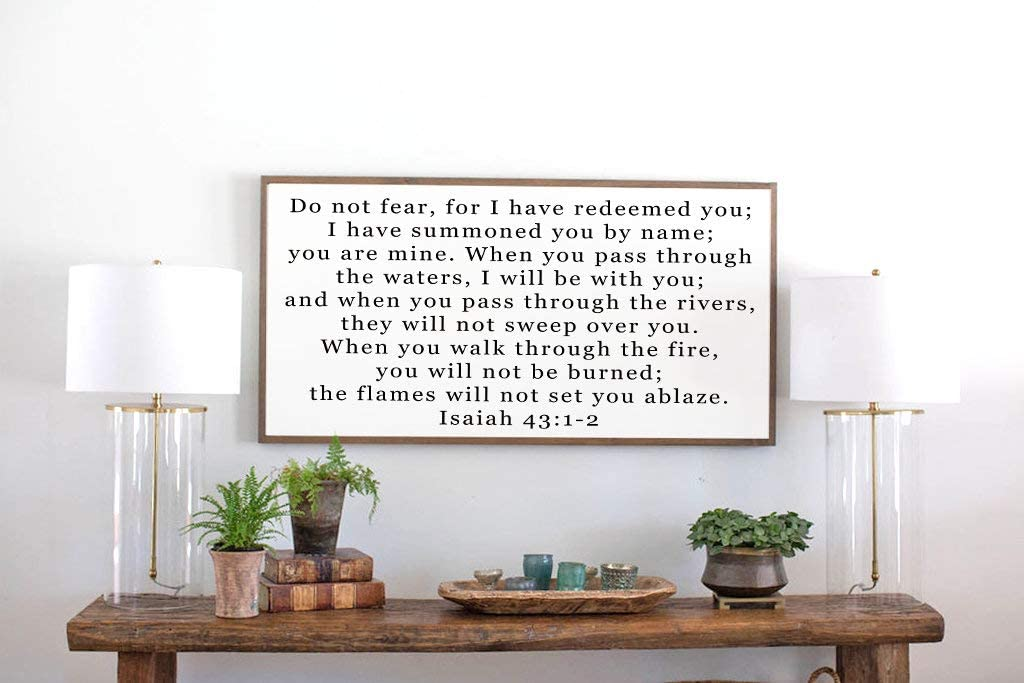 Redeemed - Framed 超激安特価 Wood Sign Isaiah Scripture- F 通信販売 43:1-2 with