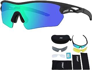 Gafas de Sol Deportivas Gafas Ciclismo Polarizadas con 3 Lentes Intercambiables Antivaho Antireflejo Anti Viento y UV Adaptadas a Deporte Carrera Running Bicicleta MTB para Hombre y Mujer(black)