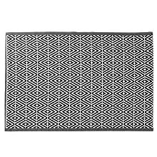 JEMIDI Alfombra XL XXL para exteriores y terrazas y terrazas, para exteriores, para balcón, decoración, para exteriores, resistente a la intemperie, rectangular, 150 x 210 cm, rombos negros