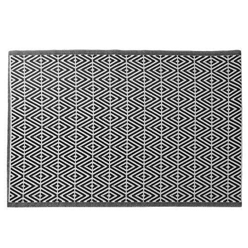 JEMIDI Outdoor Exterior Terrazas Terraza tepiche Alfombra Exterior Balcón Alfombra Alfombra–Alfombra (Exterior para Exterior Exterior Resistente a la Intemperie, Eckig 150x210cm Raute Schwarz
