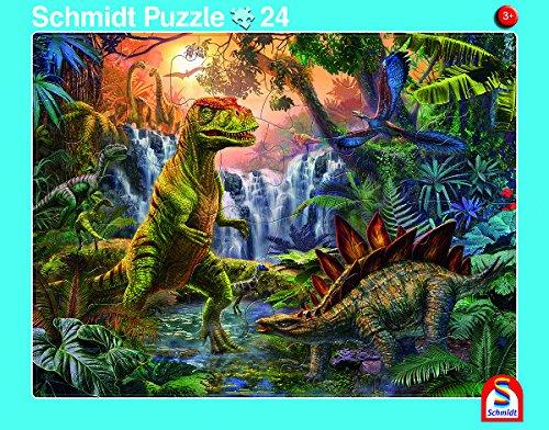 Schmidt Spiele 2er-Set Rahmenpuzzle Giganten der Urzeit und Dinosaurierwelt 24+40 Teile