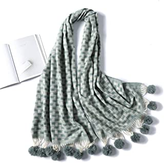 Imitation Cashmere Scarf for Women Color Matching Lattice with Hair Tassels Scarves Autumn and Winter Warm Long Shawl Collar for Outdoor Matching Clothing (Color : Light blue, Size : 70x210cm)