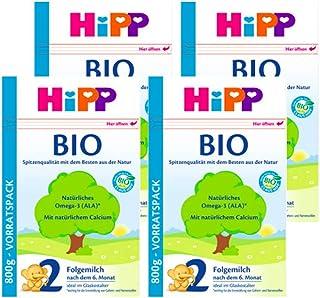 (跨境自营)(包税) Hipp喜宝 进口有机婴儿奶粉 2段 6-10个月 4盒装(4 * 800g)
