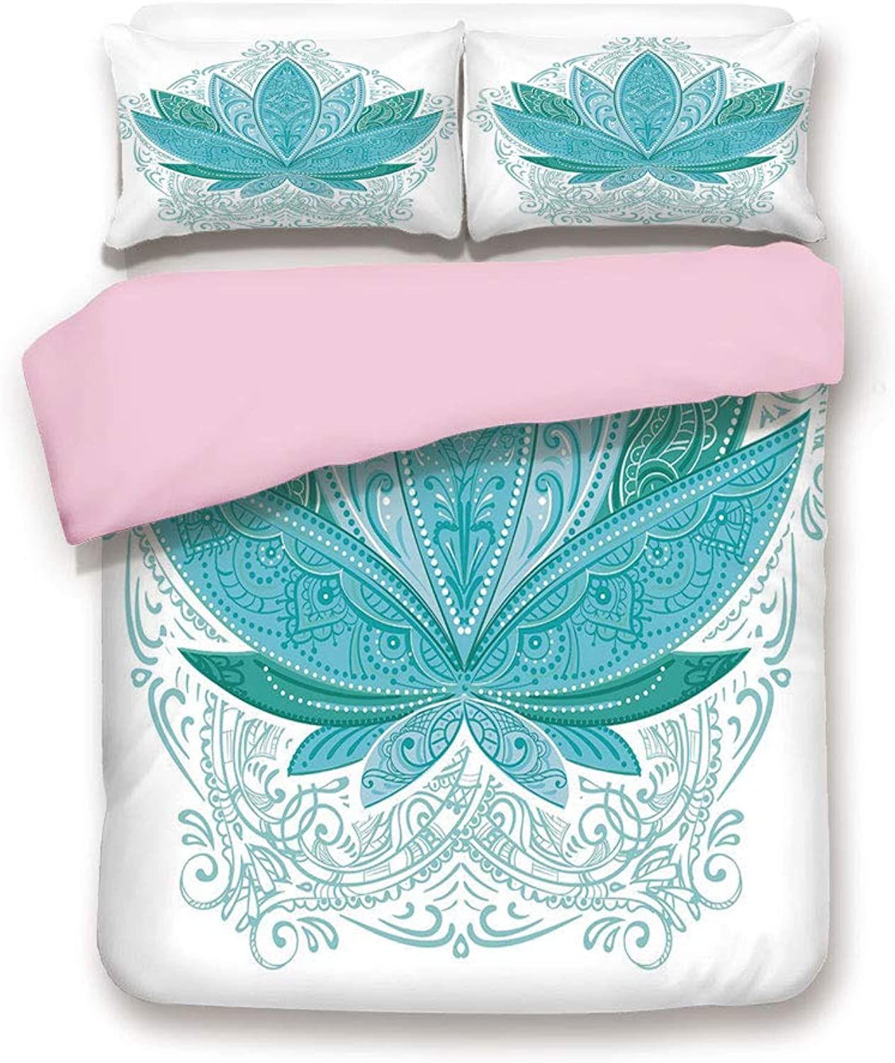 Pink Duvet Cover Set,Twin Size,Lotus Flower with Ornaments Ethnic Exotic Petals Mehndi Traditional Boho Design,Decorative 3 Piece Bedding Set with 2 Pillow Sham,Best Gift For Girls Women,Teal Sky bluee