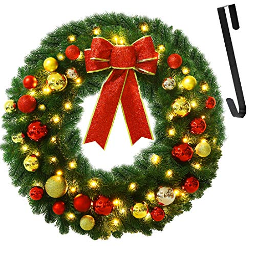 Juegoal 24 Inch Pre-Lit Christmas Wreath with Metal Hanger, Large Red Bow and Colored Balls, Battery Operated with Timer Warm White 60 LEDs Lights, Front Door Spruce Lighted Wreath X-max Decorations