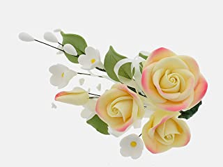 Global Sugar Art Large Rose Sugar Cake Flowers Spray, Yellow with Pink, 3 Count by Chef Alan Tetreault
