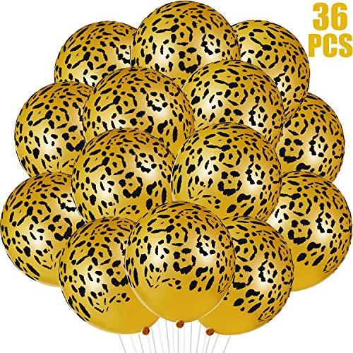 36 Piezas de Globos de Látex con Manchas de Leopardo Globos de Guepardo Globos de Animales de Jungla para Animales de Zoológico de Safari Suministros de Fiestas Decoracion de Cumpleaños de Jun