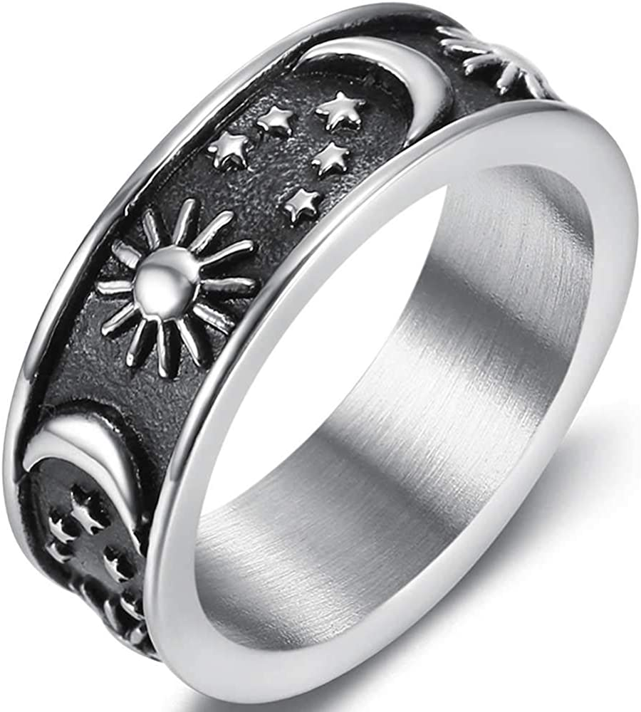 8mm Stainless Steel Vintage Sun Moon Star Style Wedding Promise Statement Biker Band Ring