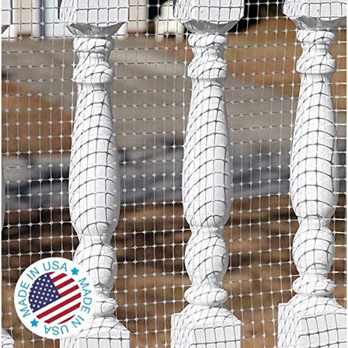 KidKusion Deck Guard - 16' L x 40 H - Made in USA - Outdoor Balcony and Stairway Deck Rail Safety Net - Clear - Child Safety; Pet Safety; Toy Safety, 4500