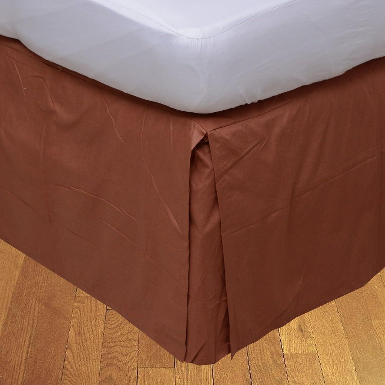LaxLinens 400 fils cm2, 100%  coton, finition élégante 1pc Split jupe de lit d'angle en forme de goutte Longueur    26  Euro Double IKEA, Brique rouge massif